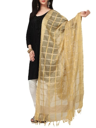 beige  cotton woven dupatta -  online shopping for Dupattas