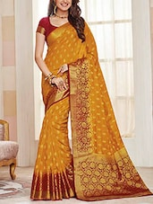 mustard raw silk woven saree -  online shopping for Sarees