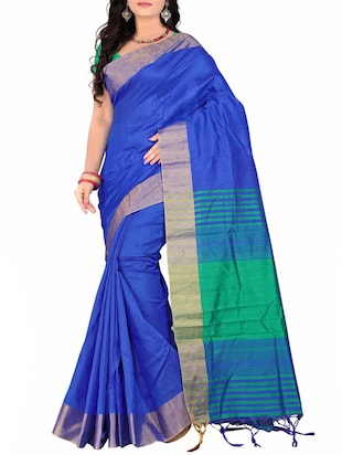 Blue silk bordered saree -  online shopping for Sarees