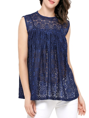 blue lace casual top