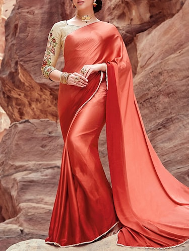 Ombre satin saree with blouse - 13934175 - Standard Image - 1