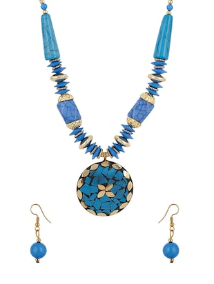 blue gold plated necklaces and earring