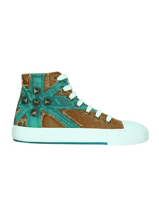 brown canvas laceup sneakers - 13938009 - Standard Image - 2