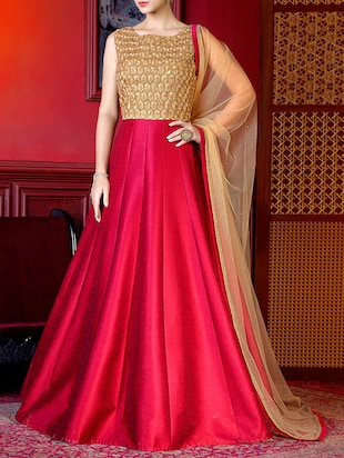 pink banglori silk anarkali suits unstitched suit