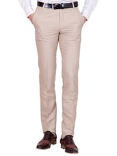 beige cotton blend formal trouser -  online shopping for Formal Trousers
