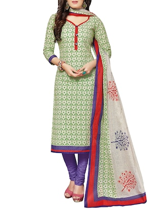 green cotton churidaar suits unstitched suit