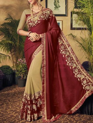 maroon & beige georgette embroidered half & half saree