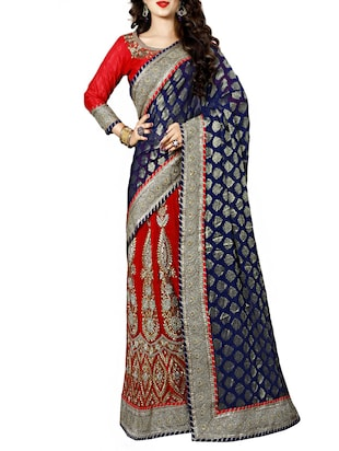 blue embroidered half and half lehenga saree -  online shopping for Sarees