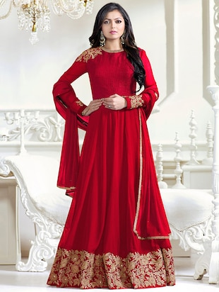 red georgette anarkali suits semistitched suit