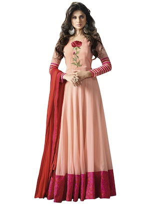 pink georgette embroidered anarkali semi-stitched suit