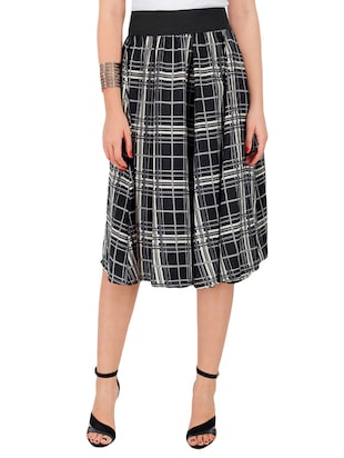 black checkered crepe flared skirt