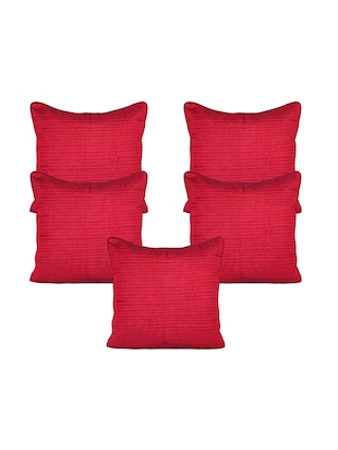 Stitchnest Red Silk Quilted Set of 5 Cushion Covers