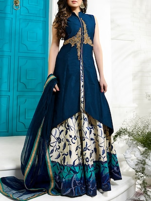 blue pure silk highlow suits unstitched suit