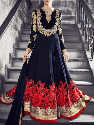 blue georgette anarkali suits unstitched suit