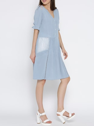 light blue rayon fit and flare dress