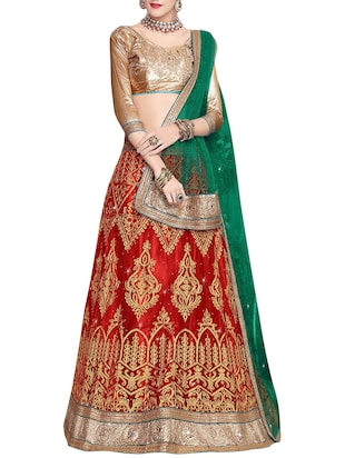 Red net satin embroidered unstitched lehenga