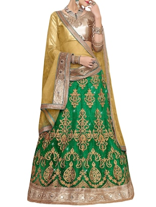green net satin embroidered unstitched lehenga