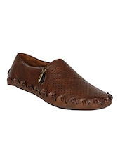 brown leatherette slip on shoes -  online shopping for slipons