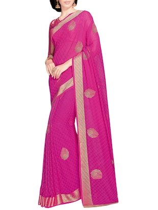magenta printed georgette saree