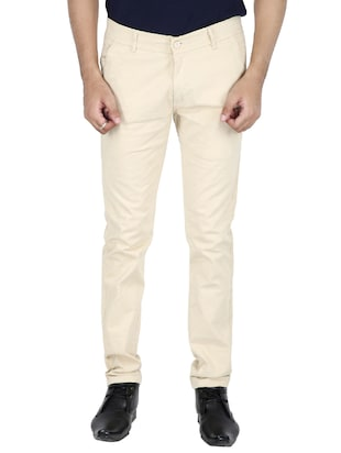 beige cotton chinos casual trousers