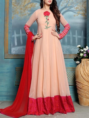 Peach georgette embroidered anarkali semi-stitched suit