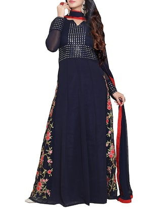 blue georgette embroidered anarkali semi-stitched suit