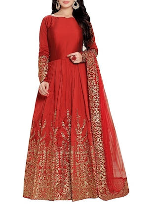 red silk embroidered anarkali semi-stitched suit