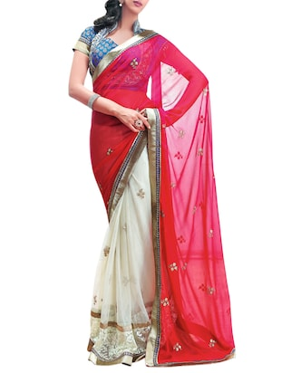 red and cream half and half georgette saree with blouse