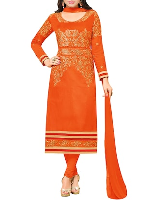 orange chanderi cotton churidaar unstitched suits