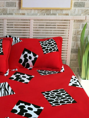Story @ Home 300 TC 100% Cotton Red 1 Double Bedsheet With 2 Pillow Cover - 13975177 - Standard Image - 2
