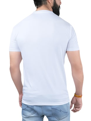 white polyester printed t-shirt - 13982102 - Standard Image - 2