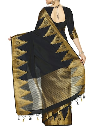black art silk woven saree with blouse - 13982829 - Standard Image - 2