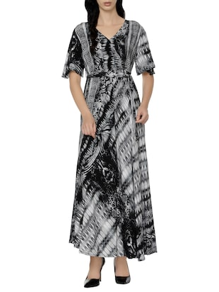 black printed rayon maxi dress
