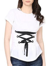 solid white top with front tie ups -  online shopping for Tops