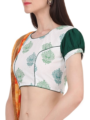 White & green cotton block printed stitched blouse - 13993950 - Standard Image - 2
