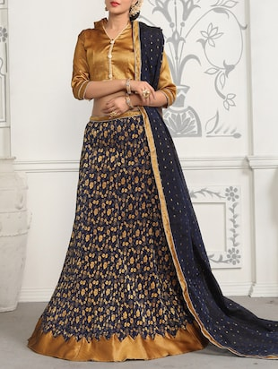 blue velvet embroidered a-line unstitched lehenga