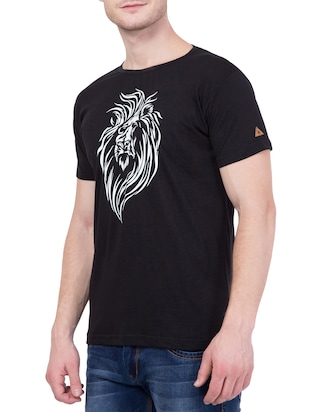 black cotton chest print t-shirt - 13996123 - Standard Image - 2