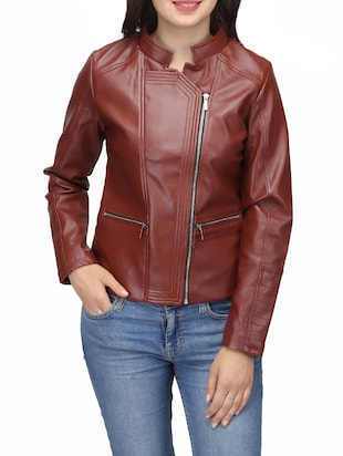solid maroon leatherette jacket