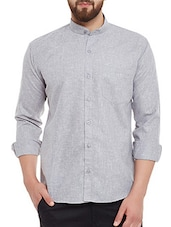 grey cotton blend casual shirt -  online shopping for casual shirts