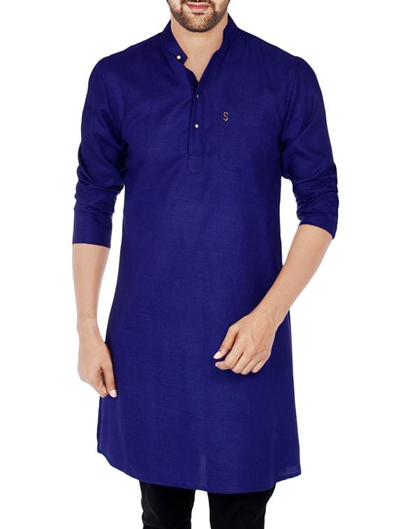dc17e2545c Buy Navy Blue Cotton Long Kurta by S9 Men - Online shopping for ...