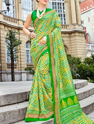 green printed cotton silk  saree