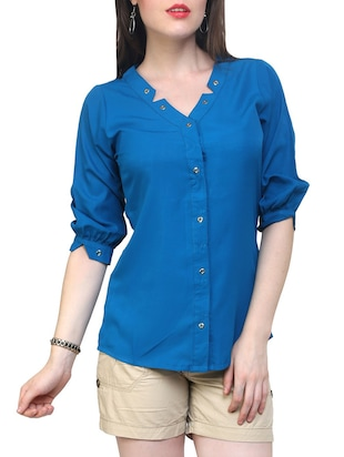 blue quarter sleeve shirt