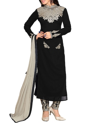 black georgette semistitched suit