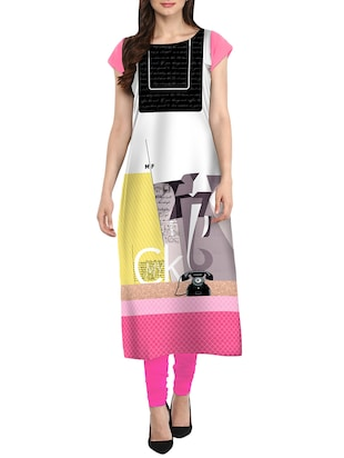 multi crepe straight kurta