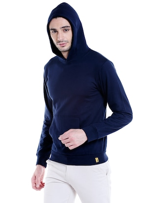 solid navy blue cotton sweatshirt - 14010515 - Standard Image - 2