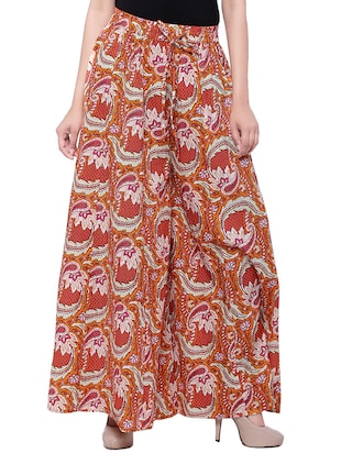 orange cotton printed flared  skirt