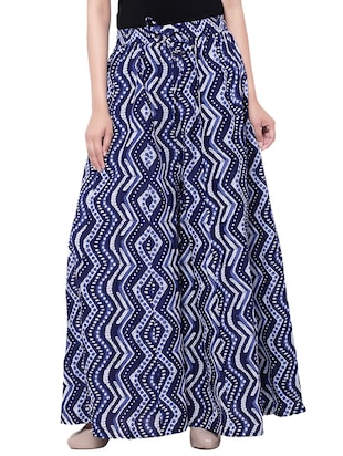 blue cotton printed flared skirt