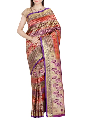 multi coloured art silk kanchipuram saree