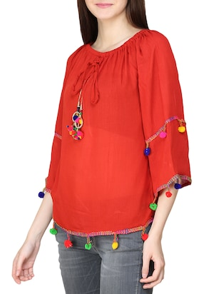 red rayon top - 14033636 - Standard Image - 2