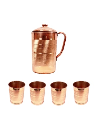 Handmade Pure Copper Jug With 4 Glasses By Joco prime